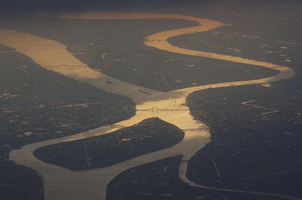 久留米市上空から筑後川
