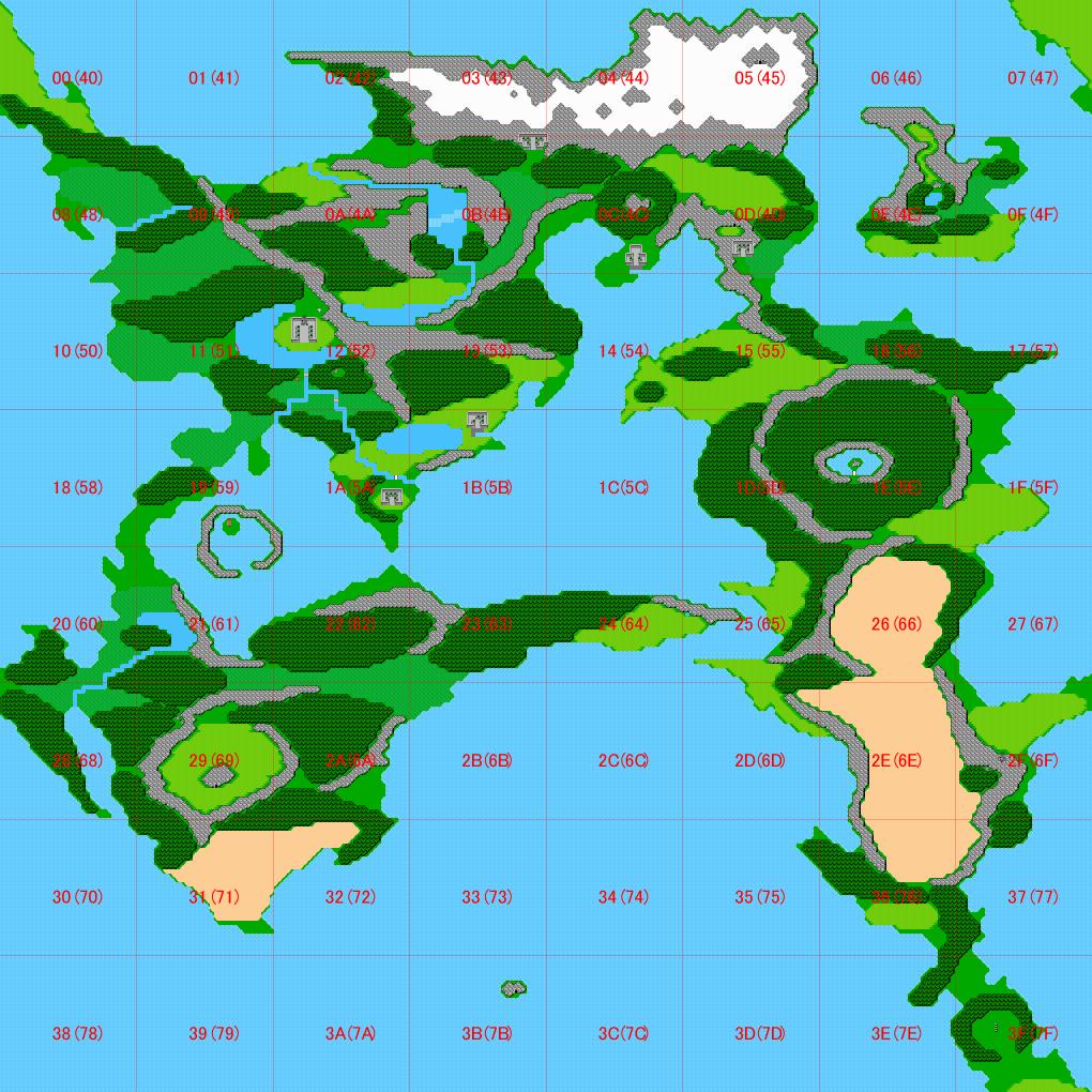 FF2 ワールドマップ エリア表示
