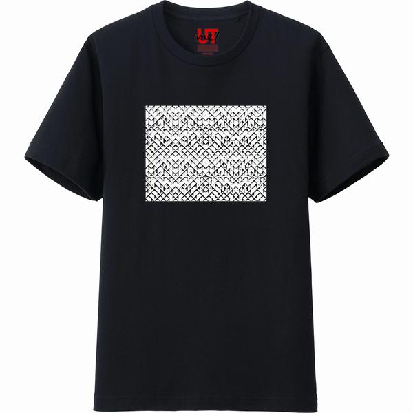 カット接合のコピー連結連結完成Tシャツ黒