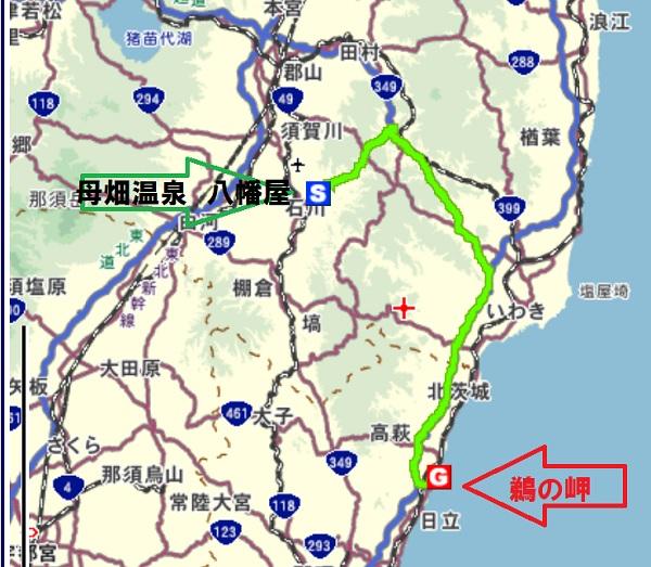 八幡屋から鵜の岬へ地図