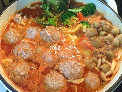 高野豆腐肉団子のトマト鍋1