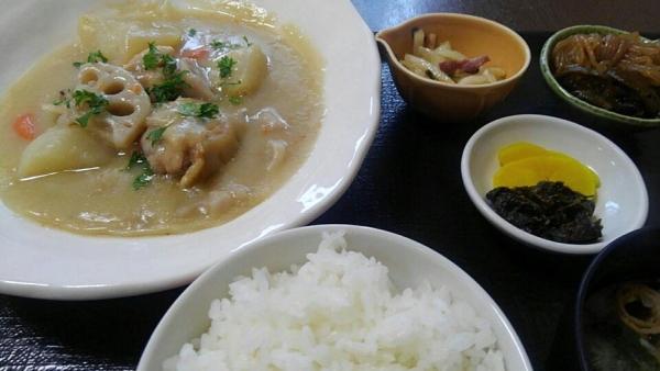 鶏の手羽元とゴロゴロ野菜シチュー定食