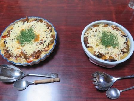 クリームシチューとボロネーゼソースの茄子ドリア