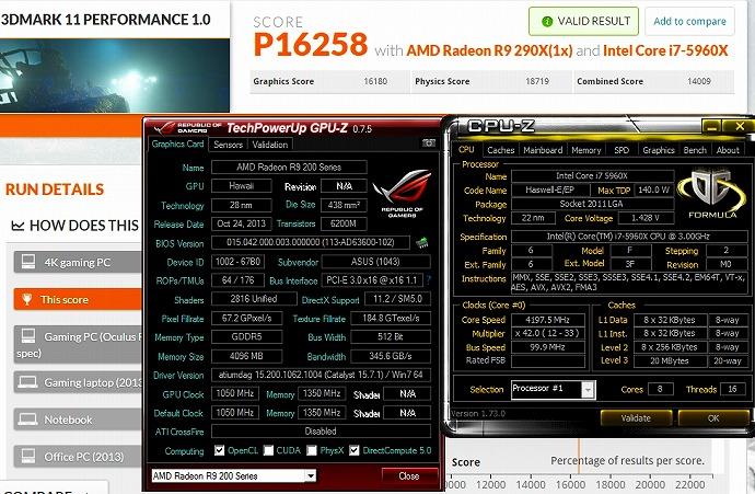 5960X 4197MHz 3DMARK11 P16258