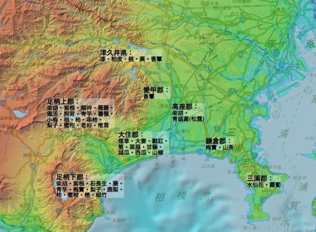「新編相模国風土記稿」の農産物・林産物の分布
