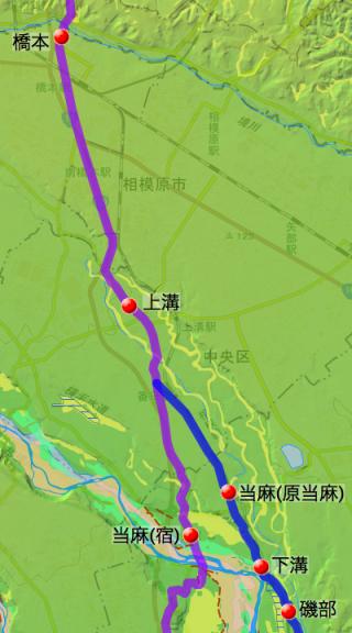 河原口〜座間〜橋本間の八王子道:高座郡の各村の位置(北半分)