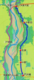 河原口〜門沢橋間の「八王子道」