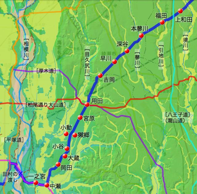 中原道:高座郡中の各村の位置