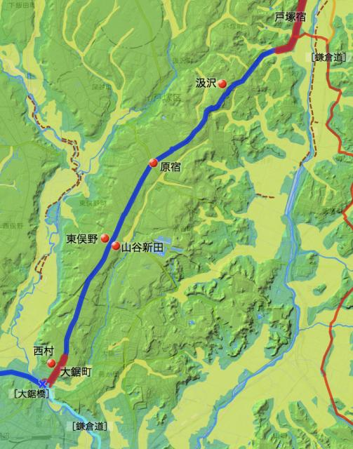 東海道:鎌倉郡中の各村の位置(南半分)