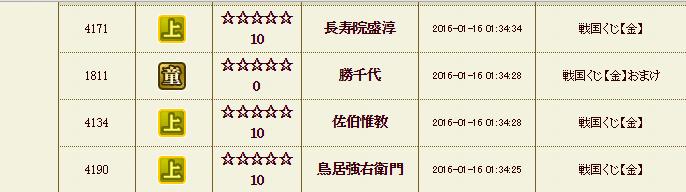 28 1月16日 金くじ履歴1