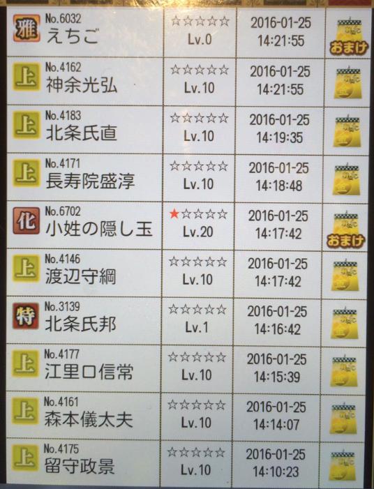 28 1月25日 さてさんくじ履歴3