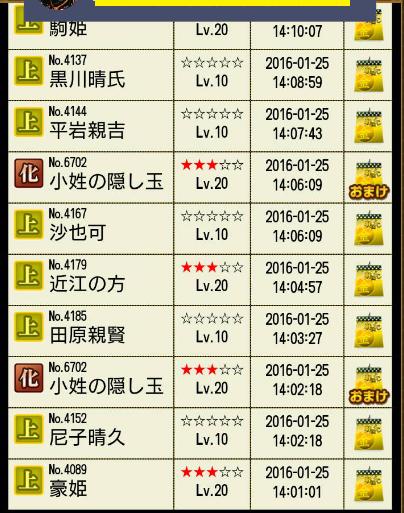 28 1月25日 ラウルさんくじ履歴2