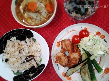 しじみご飯と唐揚げ