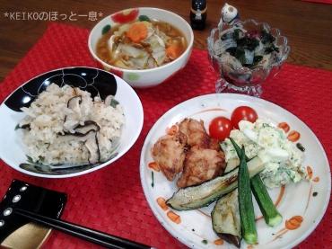 しじみご飯と唐揚げ2