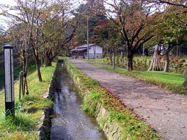 新庄城の御用水と裏門跡