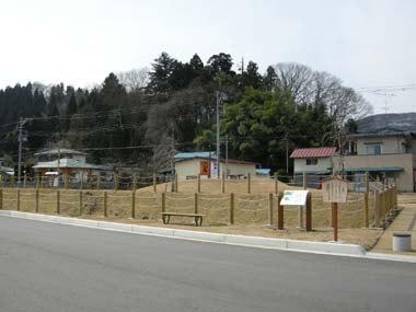 駐車場から見る長谷堂城全景