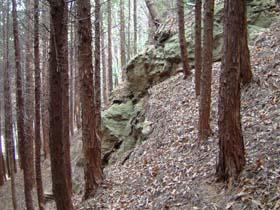 蛇谷城への道脇岩