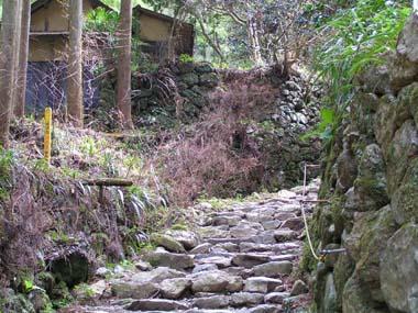 参道石段と石垣