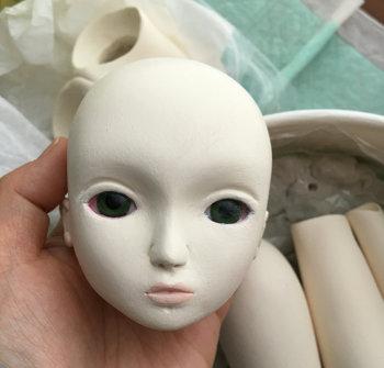 20151224 球体関節人形 顔の下塗り