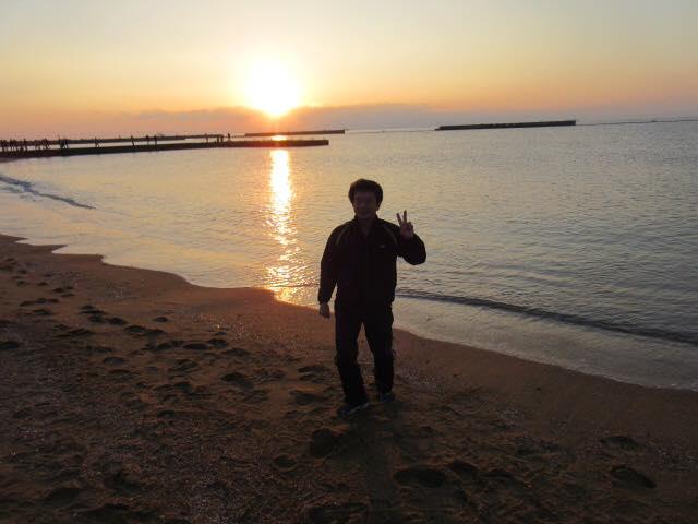 2016元旦。須磨海岸の初日の出。