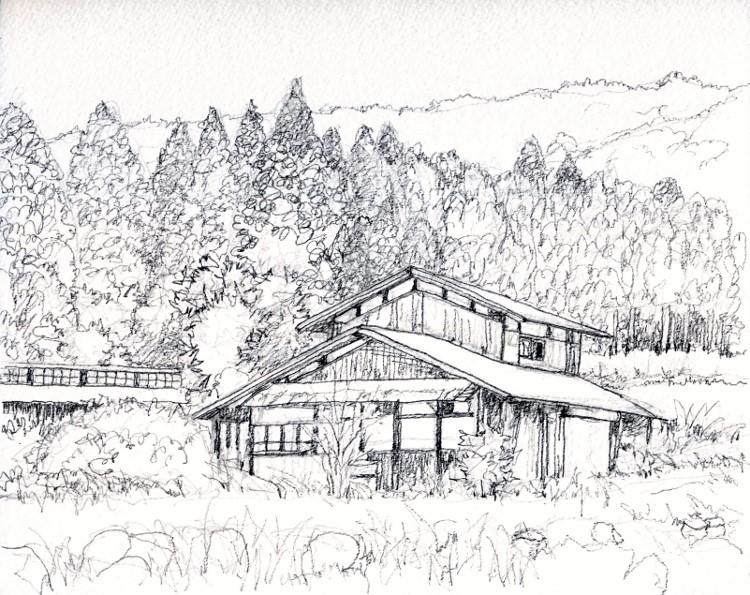 八木山村の民家 デッサン (750x595)