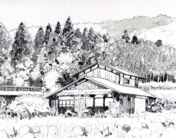 八木山村の民家 グリサイユ (750x587)