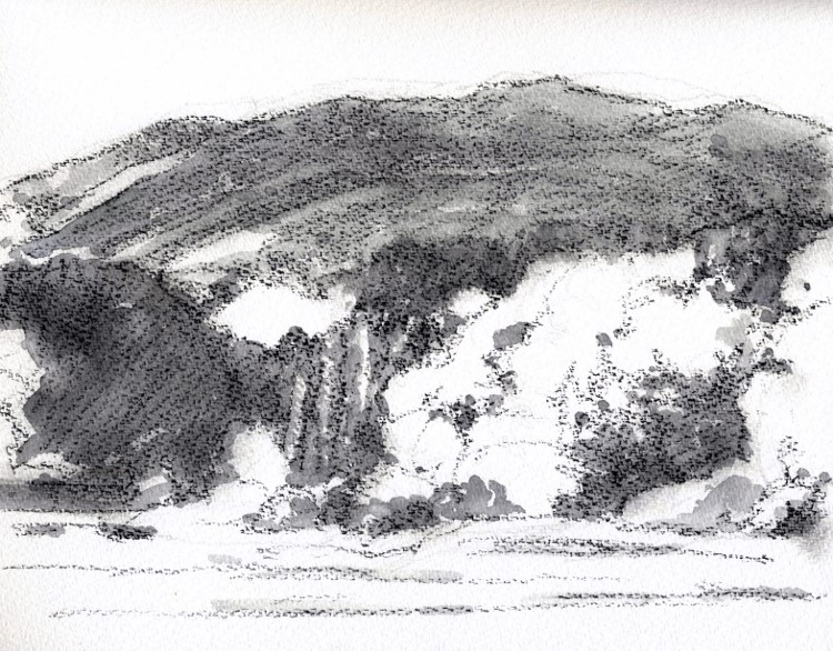秋の山猪名川 グリザイユ (750x586)