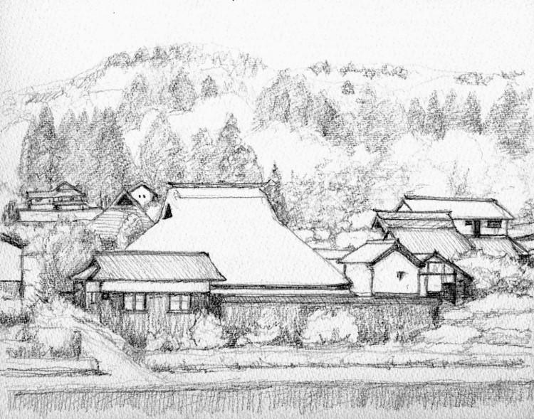 山里の民家山王 デッサン (750x589)