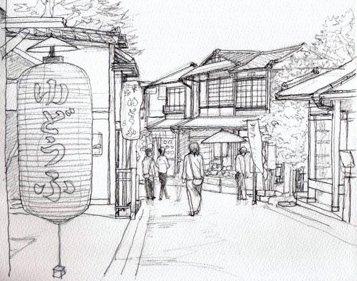 京都の東山散歩道 デッサン (700x552)
