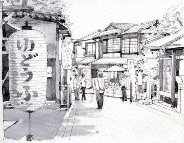 京都東山の散歩道 グリサイユ (700x545)