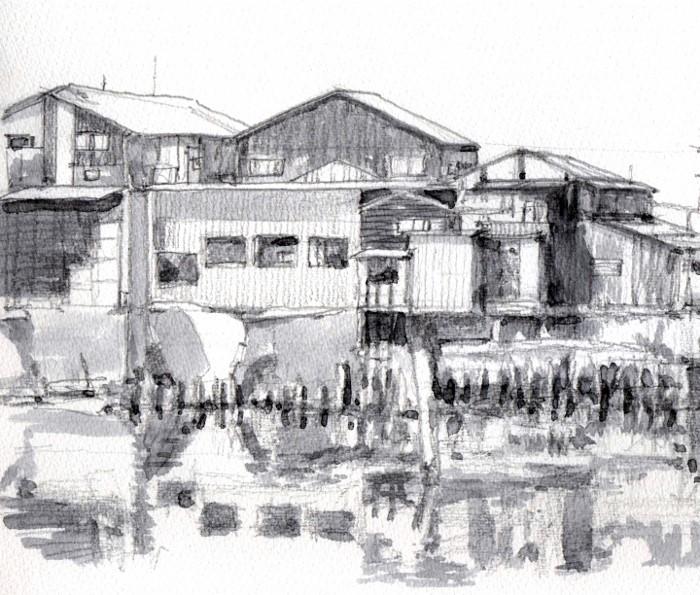 大阪南港の風景 グリザイユ (700x595)