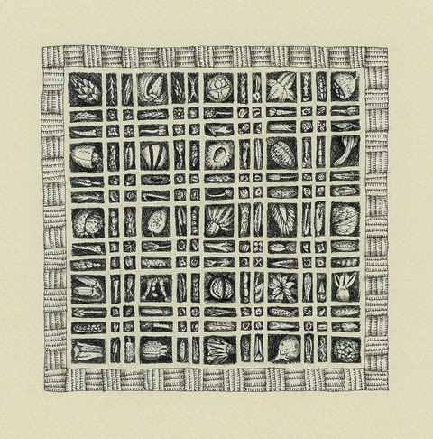 飯岡千江子 「黄八丈の種子箱」 pen 139x139mm