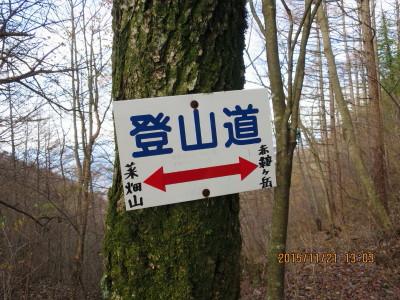 菜畑山への道標