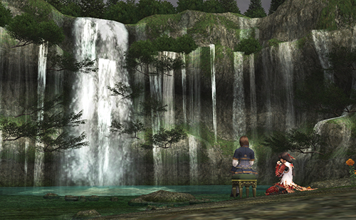 ミザレオの滝を見ながら