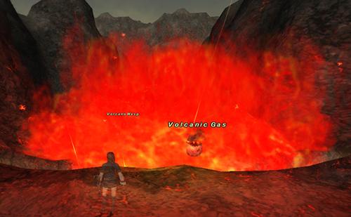 イフ釜名物の行く手を阻む炎