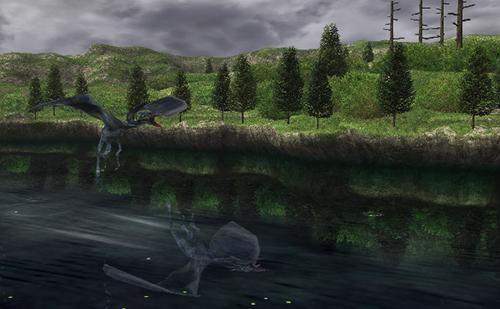 ルルミュー礁湖に飛来するドラゴン