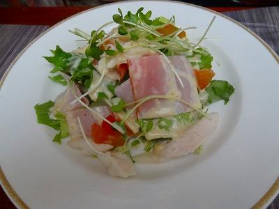 ささみ蒸し鶏の生姜サラダ