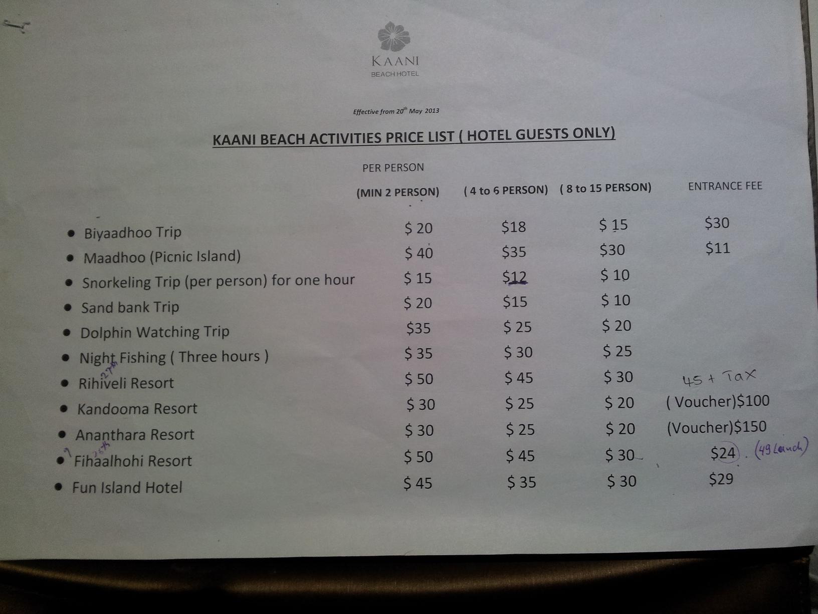 エクスカーション表