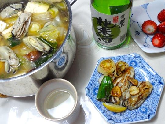 牡蠣の土手鍋、オリーブオイル焼き