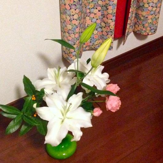 お正月花と着物