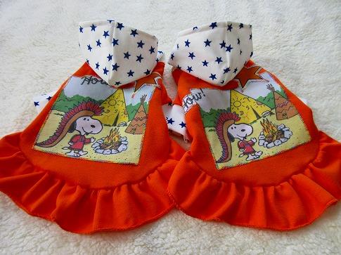 M*mania★クレちゃんジュピちゃんのフード付きオレンジワンピ