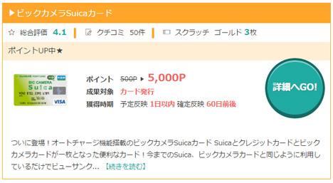 モッピーからビックカメラSuicaカード申し込み完了!何と5,000P(5,000円)がもらえるのです。2