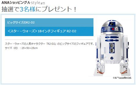 ANAのメルマガ会員限定プレゼント、今月は「R2-D2」のビッグサイズのフィギュアです!