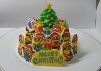 ミニオンのクリスマスケーキ作成 粘土フィギュア作成