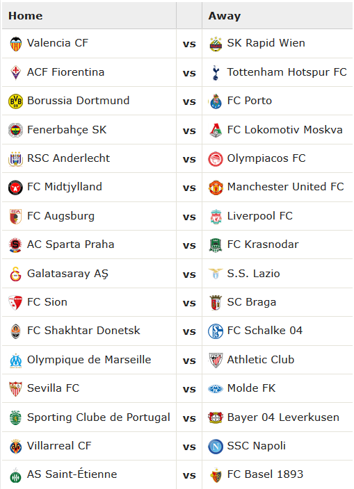 15_16 Europa League Round of 32 Matchups