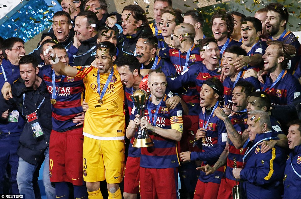 Luis Suarez at the double after Lionel Messi opener to claim record third FIFA Club World Cup for Barca