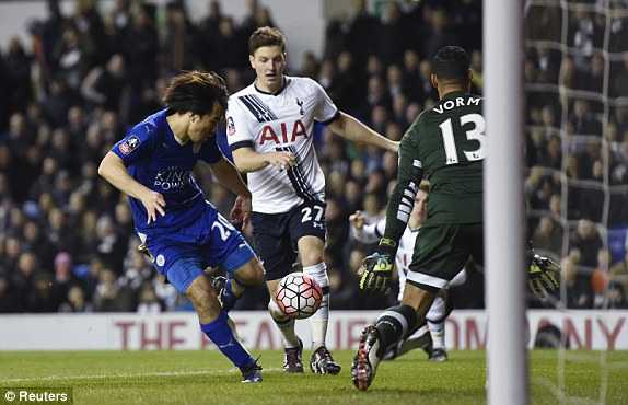 Leicesters Shinji Okazaki scores their second goal at the start of the second half
