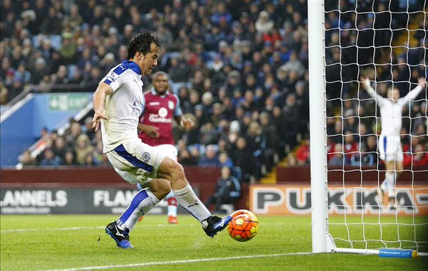 Aston Villa 0-1 Leicester Okazaki scores and Mahrez misses a penalty in an eventful 1st half