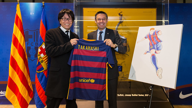 The creator of Captain Tsubasa Yoichi Takahasi comes to Camp Nou