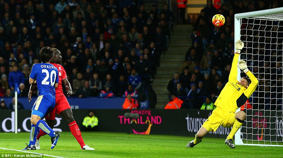 Japanese strikers header was denied by a sprawling Mignolet who dived backwards to get a strong hand on the ball